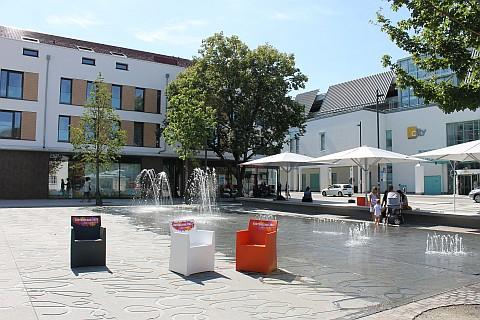 Das Wasserspiel auf dem Balinger Kirchplatz