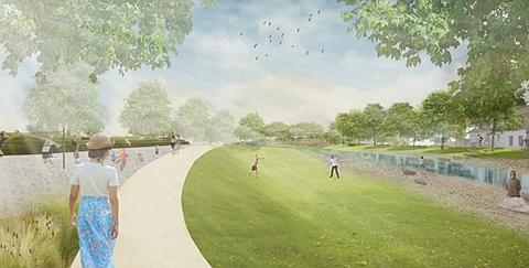 Zeichnung von einem mit Menschen belebter Park