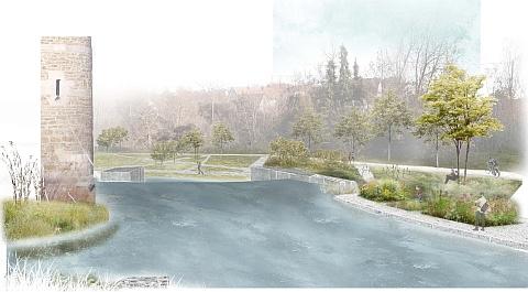 Zeichnung von Eyach und den Terrassen am Flussufer