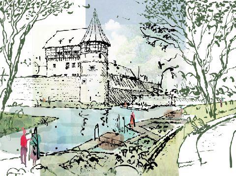 Zeichnung vom Balinger Schloss mit Fluss und Uferlandschaft