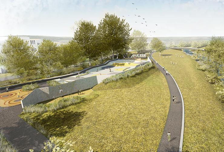 Visualisierung Aktivpark mit dem Eyachstrand