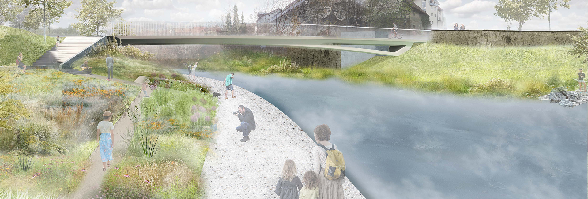 Zeichnung von Menschen, die auf einem Weg am Fluss entlang spazieren