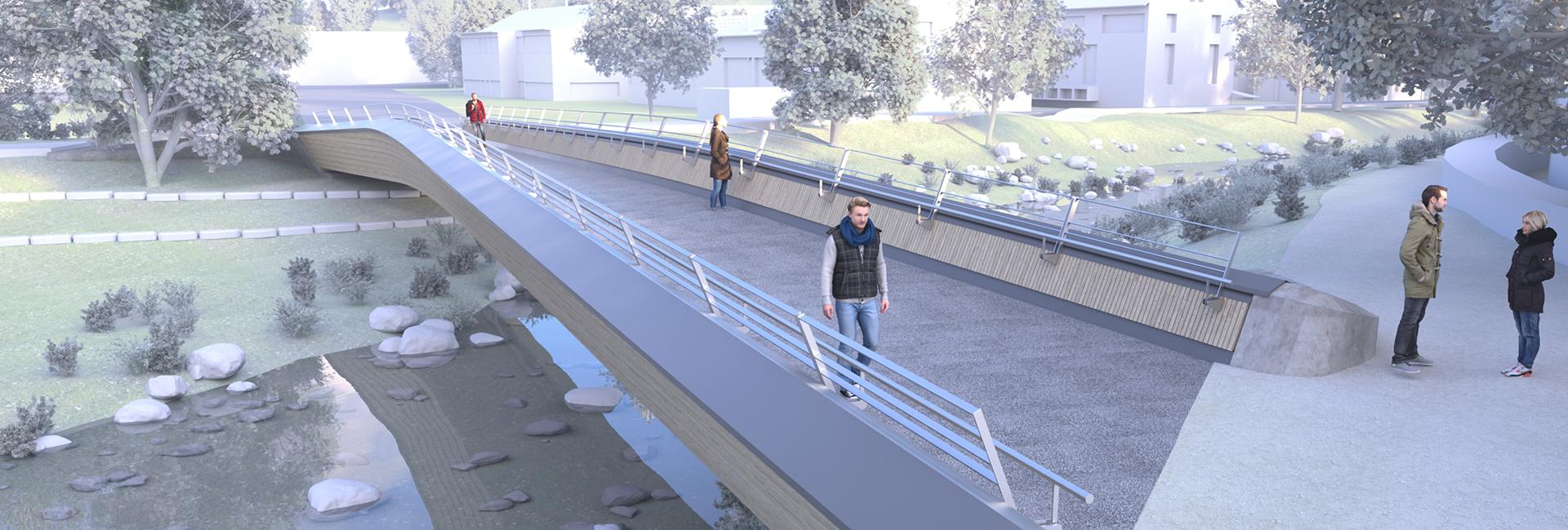 Zeichnung von einer Fußgängerbrücke über einen Fluss