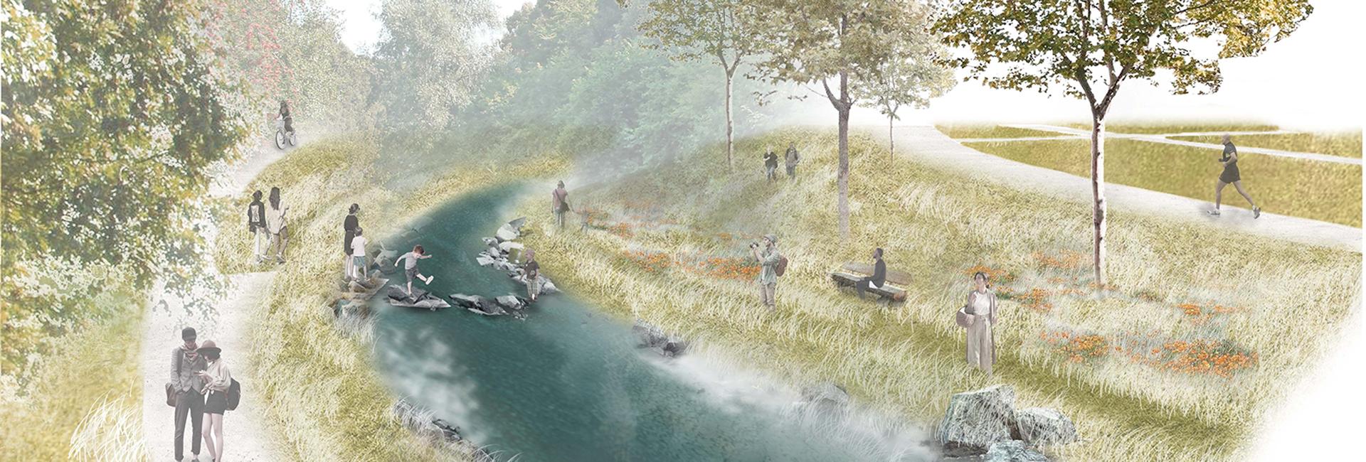Zeichnung von einem Fluss mit Uferlandschaft, an der sich Menschen aufhalten