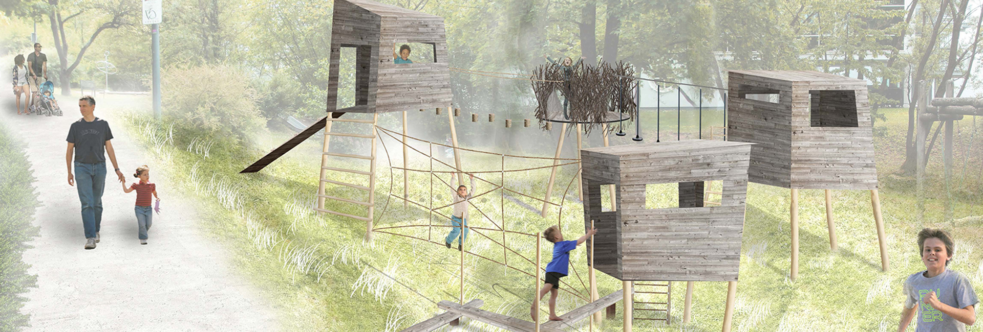 Zeichnung von Kindern, die auf einem Klettergerüst im Park spielen