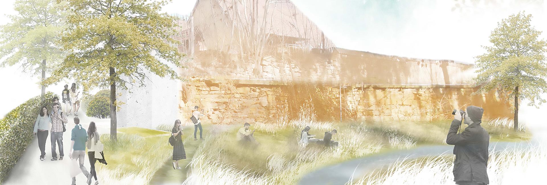 Zeichnung von einer Uferlandschaft, an der Menschen sitzen und spazierengehen