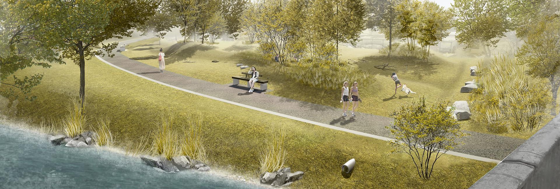 Zeichnung von einem Weg am Fluss, auf dem Menschen spazieren