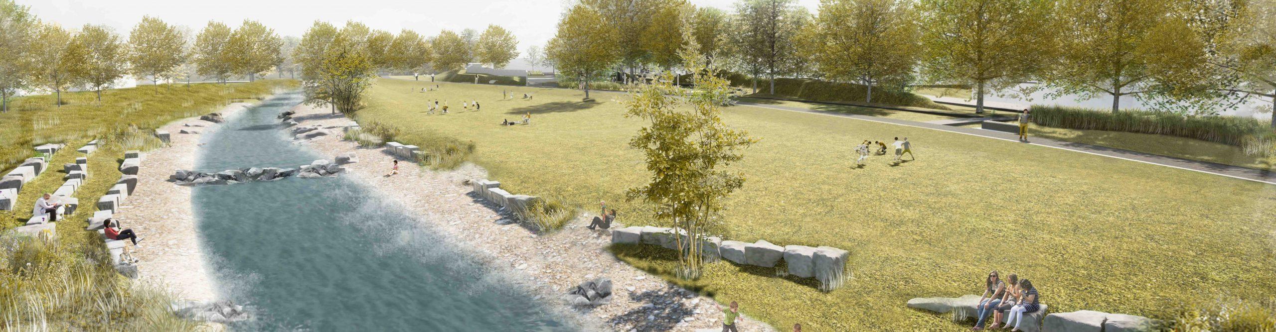 Zeichnung von einer Wiese, die am Fluss entlang führt.