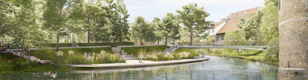 Visualisierung der Wassergärten: Treppen fühern zu einem Weg am Fluss