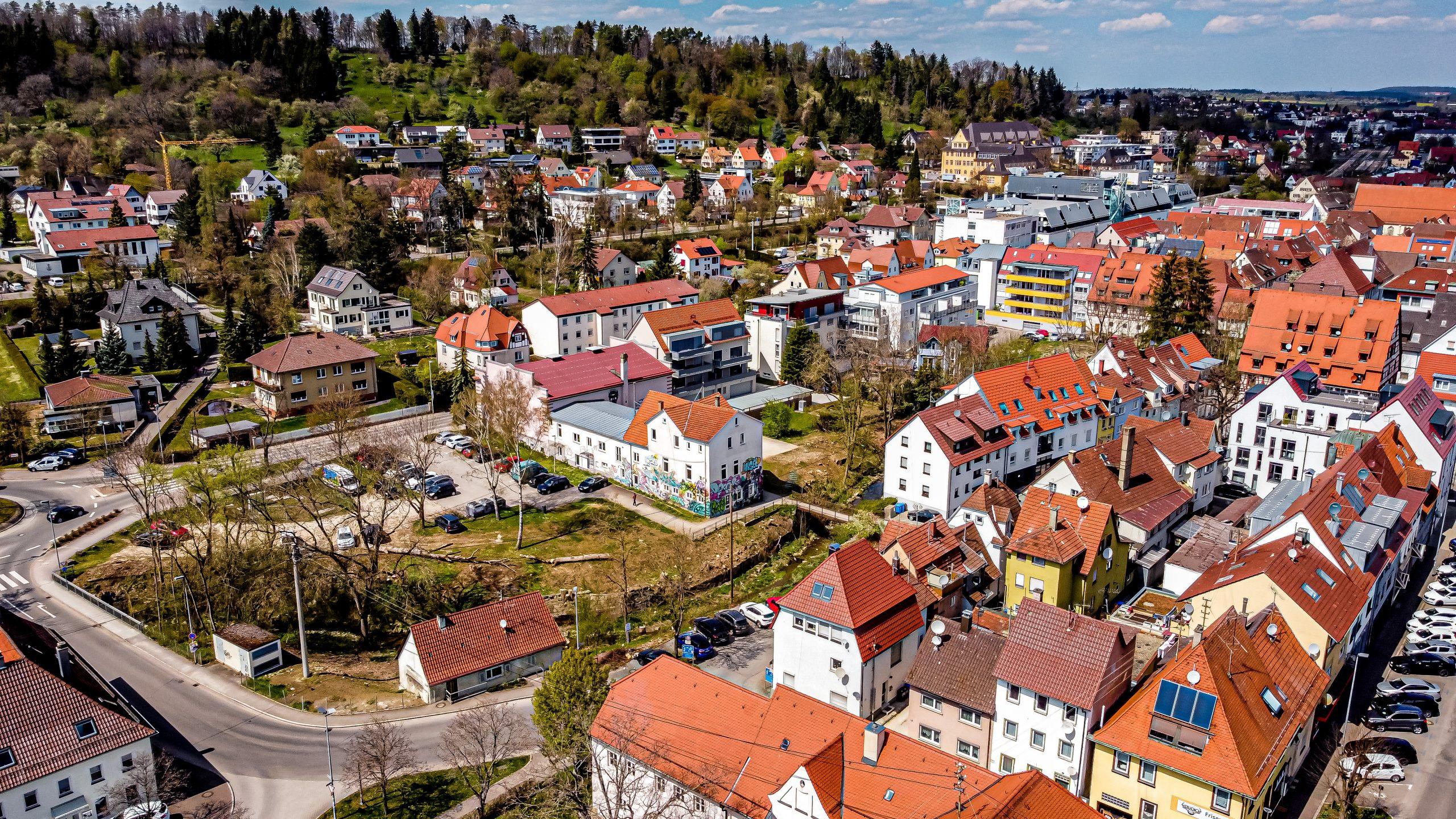 Luftbild des Geländes der Schwefelbadgärten