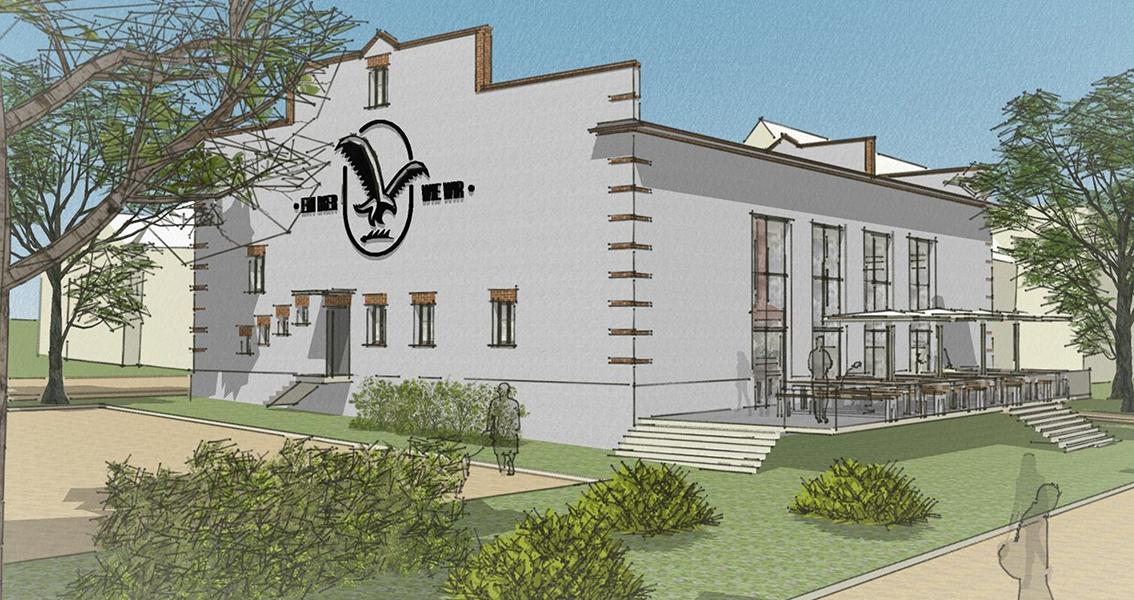 Zeichnung von der neuen Gastronomie Schwefelbadgärten