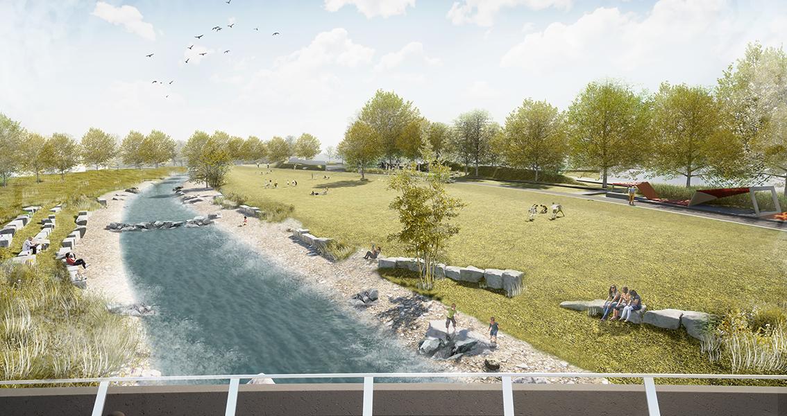 Zeichnung von Eyach mit Uferanlagen, wo sich Menschen aufhalten