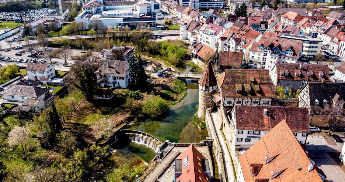 Luftbild der zukünftigen Wassergärten