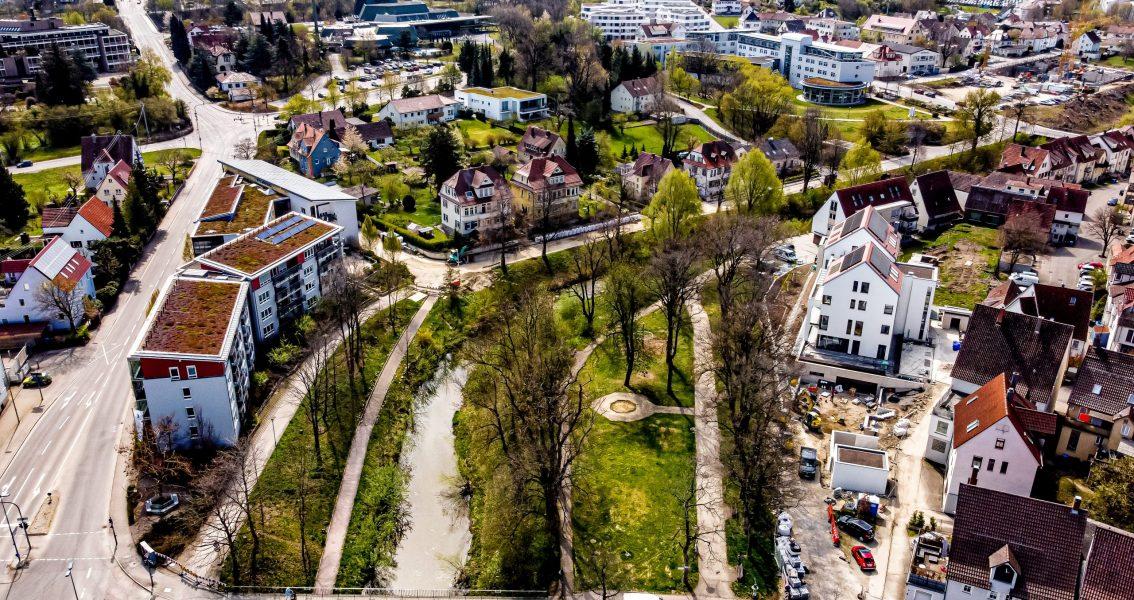 Luftbild des Stadtparks und des Zwingergartens