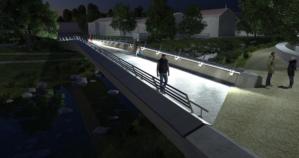 Zeichnung von einer Fußgängerbrücke über einen Fluss bei Nacht