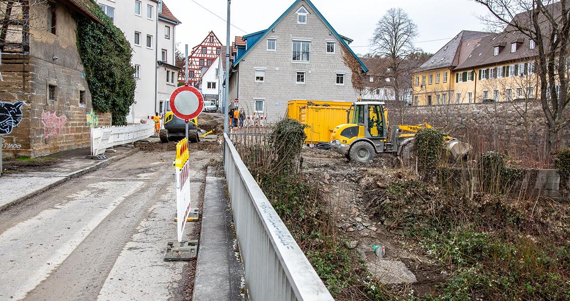 Eine wegen Bauarbeiten gesperrte Straße